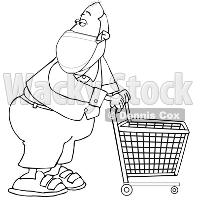 Cartoon Black and White Essential Store Worker Wearing a Mask and Standing with a Cart © djart #1719301