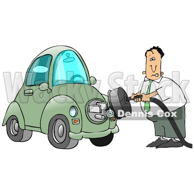 Nervous Caucasian Businessman Trying To Figure Out How To Plug In His New Electric Car To A Socket Clipart Illustration Image © djart #17194