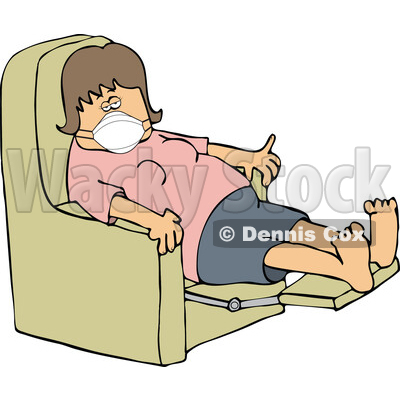 Cartoon Sick Woman Wearing a Mask and Resting in a Recliner Chair © djart #1719473