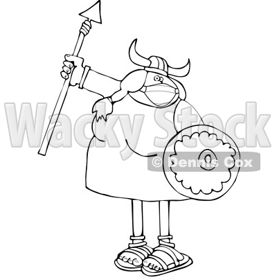 Black and White Viking Woman Armed with a Covid Mask Spear and Shield © djart #1719499
