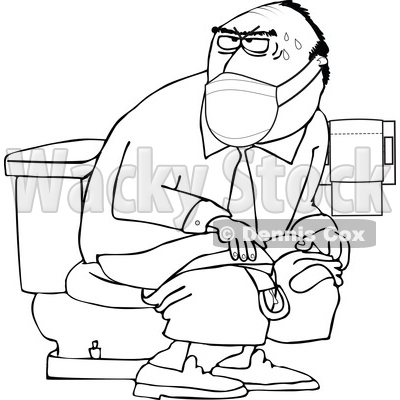 Cartoon Black and White Man Wearing a Mask and Taking a Dump in a Public Restroom © djart #1719504