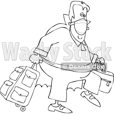 Cartoon Black and White Coronavirus Vampire Traveler Wearing a Mask © djart #1719506