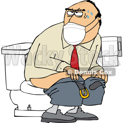 Cartoon Man Wearing a Mask and Taking a Dump in a Public Restroom © djart #1719510