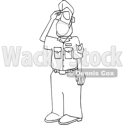 Cartoon Black and White United States Air Force Pilot Wearing a Covid Mask and Saluting © djart #1719523