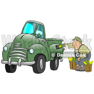Man Crouching While Putting Ears Of Corn Into A Green Corn Powered Biodiesel Truck Clipart Illustration © djart #17197