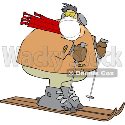 Cartoon Overweight Man Wearing a Mask and Skiing © djart #1719916