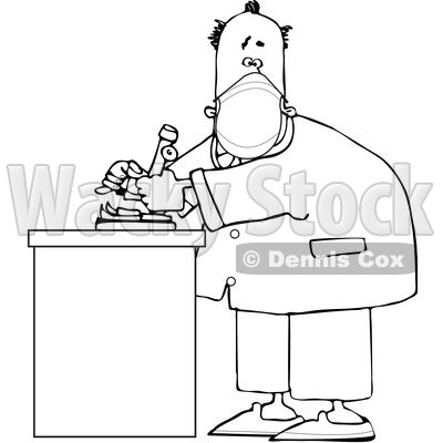 Cartoon Black and White Male Scientist Wearing a Mask in a Laboratory © djart #1721229