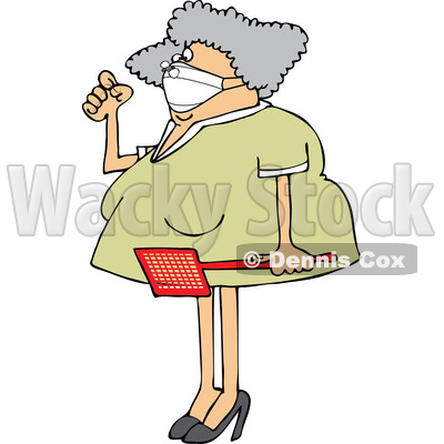 Cartoon Woman Holding a Swatter and Wearing a Mask with a Fly on Her Nose © djart #1722571