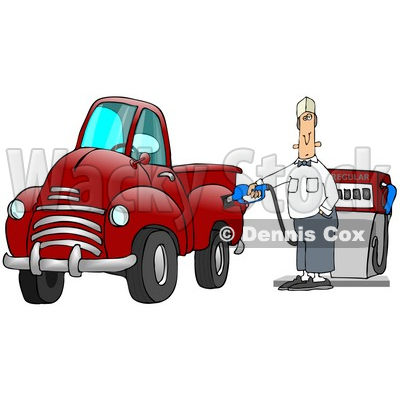 Caucasian Fast Food Manager Man Holding Onto A Gasoline Pump While Filling Up His Red Pickup Truck At A Gas Station Clipart Illustration © djart #17226