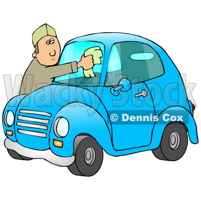 Caucasian Man Leaning Over The Hood Of His Cute Blue Compact Car To Clean The Bug Guts Off Of His Dirty Windshield While Stopped At A Gas Station Clipart Illustration © djart #17228