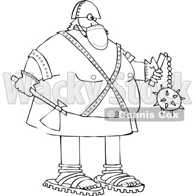 Cartoon Chubby Executioner Wearing a Mask and Holding an Axe and Flail © djart #1723067