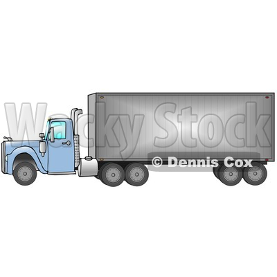 Big Blue 18 Wheeler Semi Truck Driving Down The Road, From Right To Left Clip Art Illustration © djart #17233
