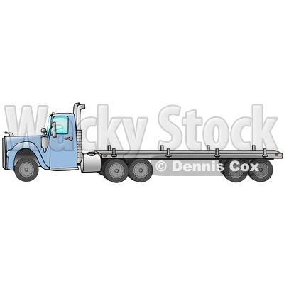 Blue Big Rig Diesel Tractor Trailer Truck With A Flat Bed In Profile Driving To The