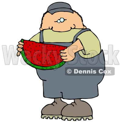 Caucasian Boy Or Man In Overalls Eating A Juicy Red Slice Of Watermelon On A Hot Summer Day Clip Art Illustration © Dennis Cox #17239