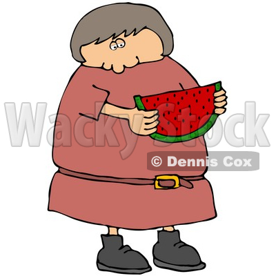 Caucasian Girl Or Woman In In Pink Dress, Eating A Juicy Red Slice Of Watermelon On A Hot Summer Day Clip Art Illustration © djart #17240