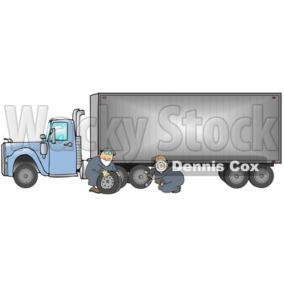 Two Caucasian Tire Changer Men In Blue Coveralls Using A Cross Bar To Replace A Flat Tire On A Big Blue 18 Wheeler Semi Truck Clipart Illustration © Dennis Cox #17242