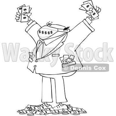 Cartoon Rich Business Man Wearing a Mask and Standing in a Pile of Money © djart #1724650