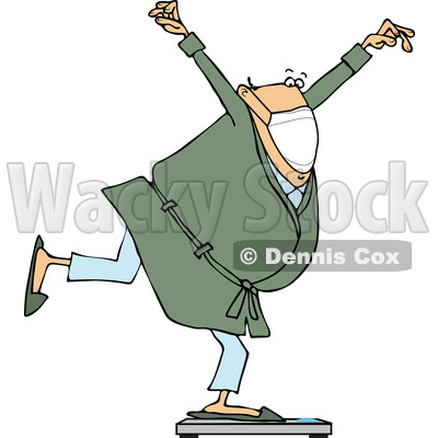 Cartoon Chubby Man Wearing a Mask and Balancing on a Scale © djart #1725092