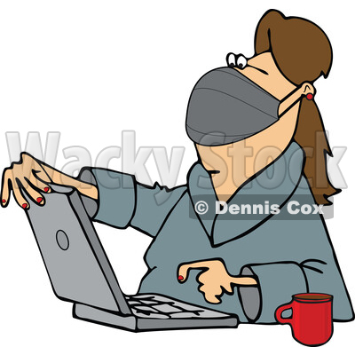 Cartoon Woman Wearing a Mask and Using a Laptop © djart #1726669