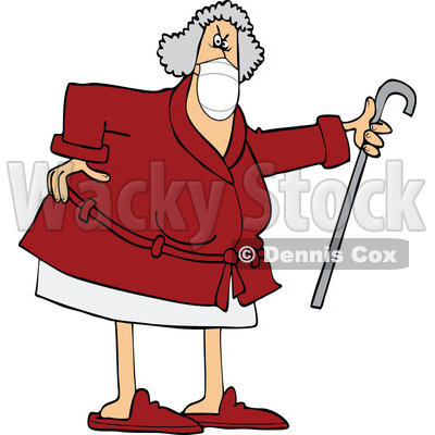 Cartoon Angry Senior Woman Wearing a Mask and Shaking Her Cane © djart #1726968