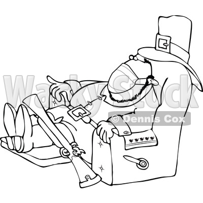 Cartoon Male Pilgrim Wearing a Mask and Napping in a Chair © djart #1728327
