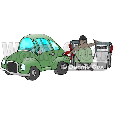 African American Woman Inserting A Gasoline Pump Into Her Vehicle To Fill It At A Gas Station Up Before Commuting To Work Clipart Illustration © djart #17414