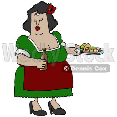Busty Hispanic Woman Serving Tacos, Burritos and Beer While Waitressing at a Mexican Restaurant Clipart Illustration © djart #17541