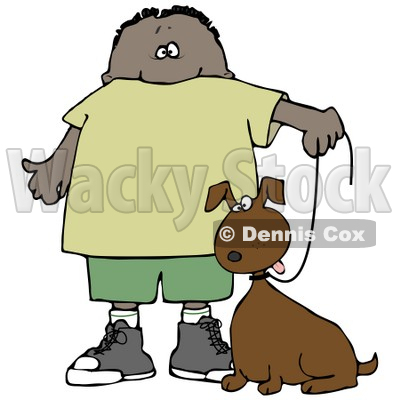 Clipart Illustration of a Little Hispanic or African American Boy Walking His Brown Mutt Dog On A Leash © djart #17555