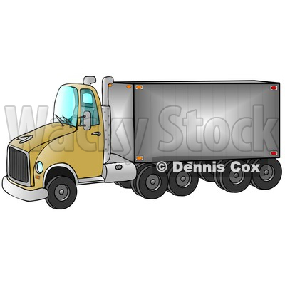 Clipart Ilustration of a Yellow Big Rig Truck Pulling A Shiny Cargo Trailer © Dennis Cox #17557