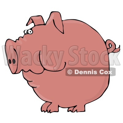 Clipart Illustration of a Fat Pink Pig With A Curly Tail Holding Food In His Cheeks © djart #17562