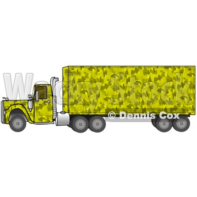 Clipart Illustration of a Yellow Camo Big Rig Truck Pulling A Matching Cargo Trailer © djart #17563