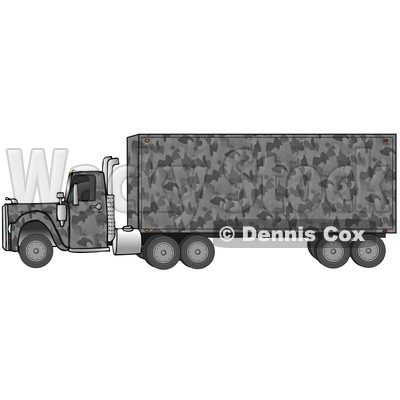 Clipart Illustration of a Gray Camouflage Big Rig Truck Pulling A Matching Cargo Trailer © djart #17566
