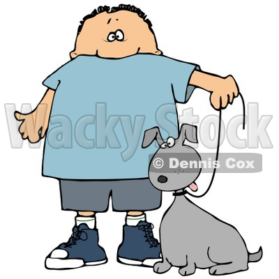 Clipart Illustration of a Little Caucasian Boy Walking His Grey Mutt Dog On A Leash © djart #17570