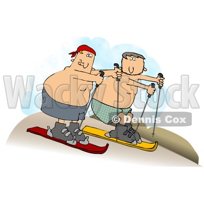 Clipart Illustration of Two Shirtless Caucasian Men In Shorts, Sand Surfing Downhill In A Desert © djart #17581