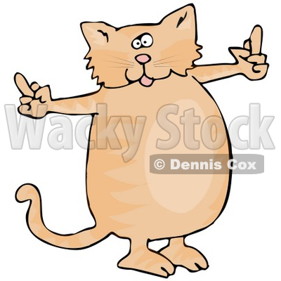 Spoiled Fat Ginger Cat Using Both Front Paws To Flip People Off After Not Getting What He Wants Clipart Illustration © djart #17612