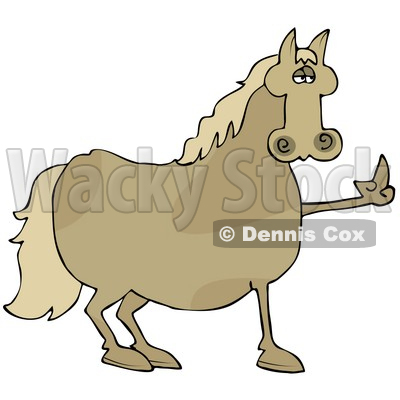 Pissed Brown Horse Flipping Off A Farmer After Not Being Fed His Oats Clipart Illustration © djart #17614