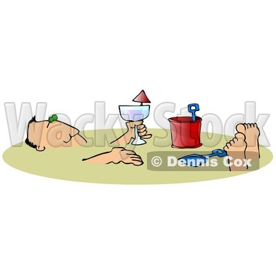 Relaxed Caucasian Man Holding An Alcoholic Beverage And Relaxing After Being Buried In The Warm Sand On A Beach During Summer Vacation Clipart Illustration © djart #17623
