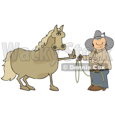 Fussy And Angry Brown Horse Flipping Off A Confused Cowboy Who Is Trying To Put A Lasso Around Him Clipart Illustration © djart #17626