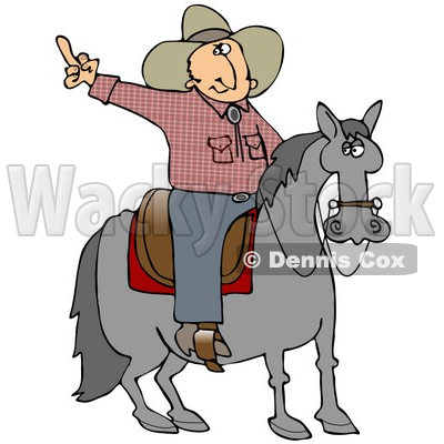Pissed Off Cowboy Sitting On A Saddle On A Horse, Flipping Off Someone Behind Him Clipart Illustration © Dennis Cox #17627