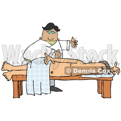 Male Chinese Acupuncturist Doctor Preparing To Insert Another Acupuncture Needle Into A Male Caucasian Patient's Back Clipart Illustration © djart #17633