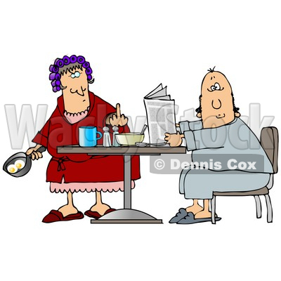 Angry Caucasian Woman, A Wife, With Her Hair Up In Curlers, Holding A Frying Pan With Two Eggs In It And Flipping Off Her Husband Clipart Illustration © djart #17634