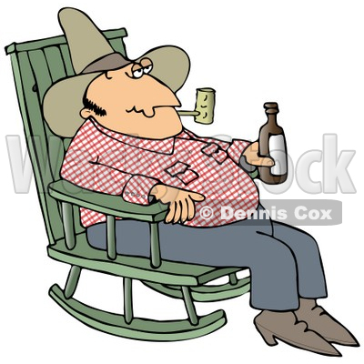 Clipart Illustration of a Hillbilly Cowboy Man Sitting In A Rocking Chair, Drinking Beer And Smoking A Pipe © Dennis Cox #17660