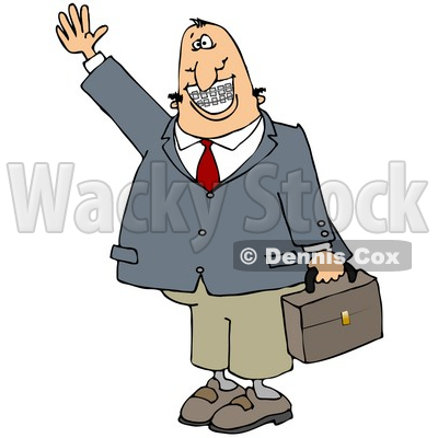 Clipart Illustration of a White Businessman With Braces, Smiling, Waving And Carrying A Briefcase © djart #17666