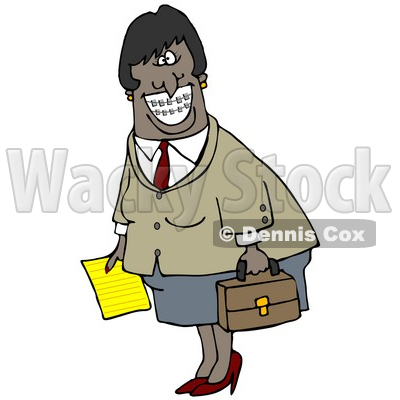 Clipart Illustration of an African American Businesswoman With Braces, Smiling And Carrying A Letter And Briefcase © Dennis Cox #17668
