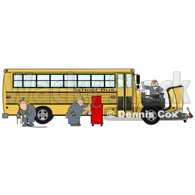 Clipart Illustration of a Team Of Mechanics Working On The Engine Of A Broken Down Yellow School Bus © djart #17673