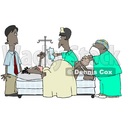 Clipart Illustration of a Terrified African American Man Standing Near His Wife in a Hospital Bed While She Gives Birth With the Assitance of a Gynecologist Doctor and Nurse © djart #17692