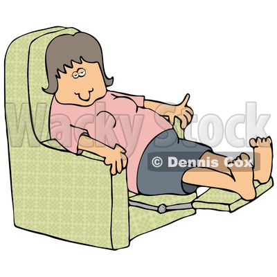 Clipart Illustration of a Tired Caucasian Woman In A Pink Shirt Resting With Her Feet Up In A Green Lazy Chair © djart #17694