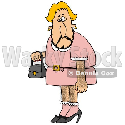 Hairy Blond Male Cross Dresser With Facial, Arm And Leg Hair, Wearing A Pink Dress And High Heels And Carrying A Purse Clipart Illustration © Dennis Cox #17740