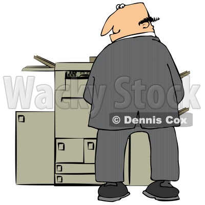 Mischievious Caucasian Businessman Urinating On A Copier Machine In An Office And Looking Back Over His Shoulder Clipart Illustration © djart #17741