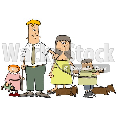 Caucasian Man And Woman Walking Their Dachshund Dogs And Children On Leashes Clipart Illustration © djart #17748